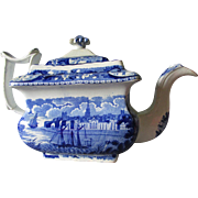 c1830s Staffordshire Blue Transfersware Teapot with American Sailing Ships