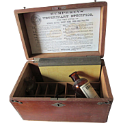 Antique c 1891 Humphreys Veterinary Medicine Box with Medical Bottles, Book