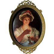 Antique Hand Painted Miniature Porcelain Plaque, Girl with Candle Signed Wagner