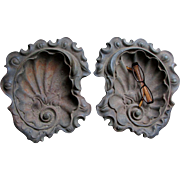 Pair Antique 19thC Cast Iron Drip Pans for Umbrella Stand, Garden Accessory