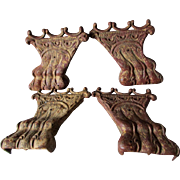 Set of 4 c1890s Antique Cast Iron Lion Paw Feet, Architectural, Furniture