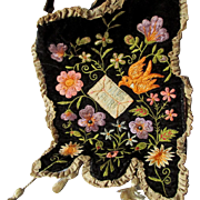 Antique Victorian Velvet Embroidered Panel with Bird and Letter, Silk Trim