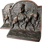 George Washington at Valley Forge Bookends by Hubley, Cast Iron, Signed