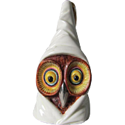 c1930s Royal Worcester Figural Owl Candle Extinguisher, Candle Snuffer