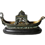 Antique Bronze & Marble Incense Burner, Gondola with Merman