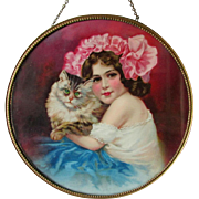 c1900 German Flue Cover, Pretty Girl with Her Cat, Kitten, Chromolithograph