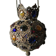 Antique Victorian Jeweled Fairy Lamp, Hanging Candle Holder