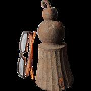 Big 19thC Antique Garden Gate Weight, Figural Cast Iron Tassel