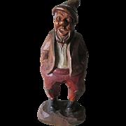 Vintage Hand Carved Black Forest Gnome Man Figurine, Folk Art