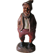 Vintage Hand Carved Black Forest Gnome Man Figurine, Folk Art