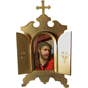 Antique Hand Painted Porcelain Plaque of Jesus in Gothic Gilt Brass Frame