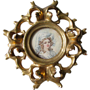 Antique Hand Painted Miniature of a Lovely Lady in Italian Gilt Wood Frame