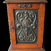Antique Art Nouveau Pipe Case, Smoking Cabinet, Oak Box