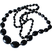 Lovely Antique 19thC Natural Jet Coal Faceted Bead Necklace