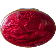 Antique Art Nouveau Snuff Box with Enamel, Nude Lady with Cherub Angels