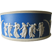 Antique c1889 Copeland Spode Jasperware Bowl with Dancing Nudes, Classical Ladies