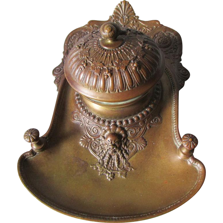 Antique c1880 Bronze Inkwell with Gargoyle & Snail, Desk Accessory, Pen Holder