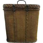 Antique c1910 Wicker Bottle Carrier, Edwardian Picnic Basket, Wine Tote