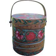 Vintage Folk Art Hand Painted Firkin, Wood Sugar Bucket