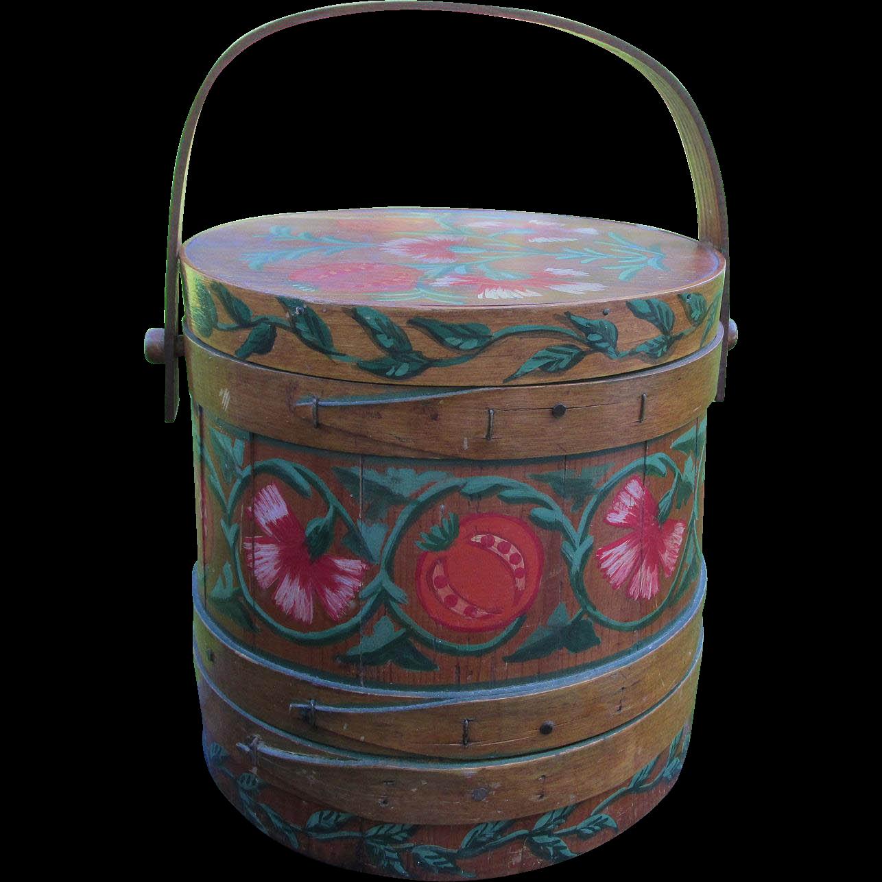 Vintage Folk Art Hand Painted Firkin, Wood Sugar Bucket