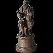 Antique  19thC Grand Tour Terra Cotta Cabinet Sculpture, Folk Singer Hans Sachs