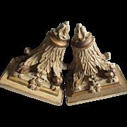 Lovely Pair of Antique Shelves with Acanthus Leaf Motif, Original Paint