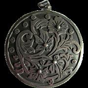 Vintage Mexican Sterling Silver Pendant & Brooch, Signed V A & Eagle Hallmark