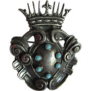 Vintage 800 Silver Renaissance Pin with Crown & Shield, Hallmarked, Signed