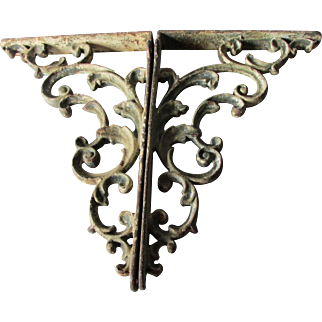 Large Pair of Antique Cast Iron Architectural Brackets with Scroll Motif
