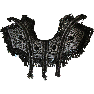Beautiful c1900 Victorian Beaded Jet Sequins Collar, Shawlette with Roses