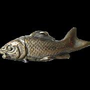 Antique Figural Fish Match Safe, Vesta, Victorian, Edwardian Accessory