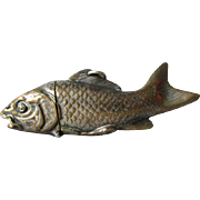 Antique Figural Fish Match Safe, Vesta, Victorian, Edwardian Accessory
