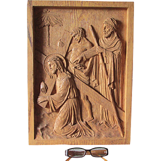 Vintage Hand Carved Station of the Cross, Christianity by Irving & Casson