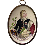 Antique Miniature Battersea Plaque, Prince William Henry, United Kingdom Royal