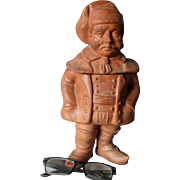 Antique European Figural Man with Cigar Tobacco Humidor, Terra Cotta