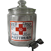 Antique Medical, Apothecary Enameled Advertising Jar, Red Cross