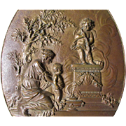 Charming Antique European Bronze Plaque of a Lady with Cupid & a Cherub