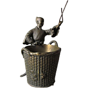Antique Asian Bronze Sculpture of a Gentleman with a Basket