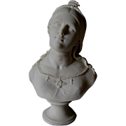 Antique 19thC Parian Porcelain Bust of Saint Cecilia, Christian Saint of Music
