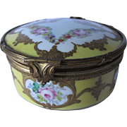 Antique French Seves Box with Hand Painted Flowers & Gilt Bronze Mounts
