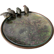 Charming Antique Vienna Bronze Tray with 4 Birds & Oil Painting of Birds Nest