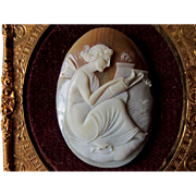 Pretty Vintage Hand Carved Cameo of a Fairy or Goddess with Flaming Urn