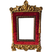 Antique c1880s Victorian Red Velvet & Carved Wood Mirror or Picture Frame
