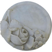 Antique Hand Carved Marble Vanity, Calling Card Receiver with Roses