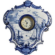 Antique Blue Transferware Clock, Delft Style, Empire Porcelain Co