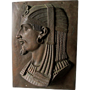 Antique Egyptian Revival Plaque with Pharaoh Head, Signed