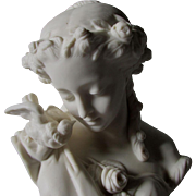19thC Parian Porcelain Bust of a Lovely Lady with a Dove, Bird
