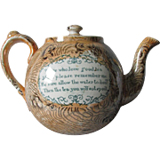 Antique Staffordshire Lusterware English Teapot with Mottos, Live a Long Life