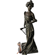 Lovely Art Nouveau, Edwardian Bronze Sculpture, Georges Van Der Straeten
