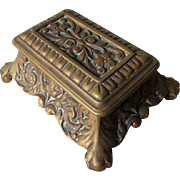 Pretty Antique Bronze Desk Top Stamp Box, Office Vanity Accessory